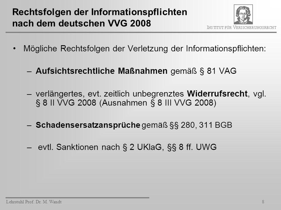 Lehrstuhl Prof. Dr. M. Wandt8 Rechtsfolgen der Informationspflichten nach dem deutschen VVG 2008 Mögliche Rechtsfolgen der Verletzung der Informations