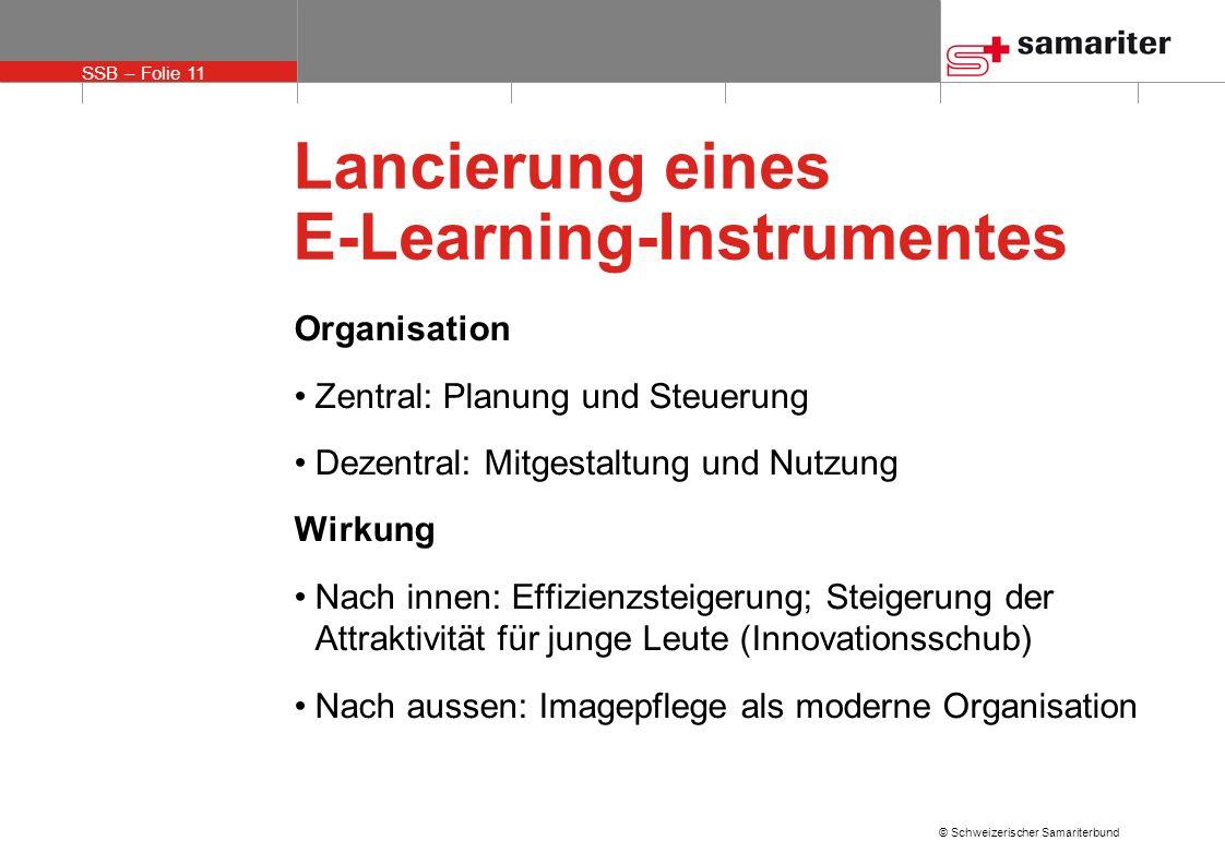 SSB – Folie 11 © Schweizerischer Samariterbund Lancierung eines E-Learning-Instrumentes Organisation Zentral: Planung und Steuerung Dezentral: Mitgest