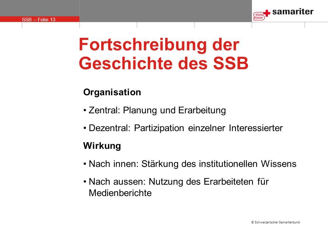 SSB – Folie 13 © Schweizerischer Samariterbund Fortschreibung der Geschichte des SSB Organisation Zentral: Planung und Erarbeitung Dezentral: Partizip