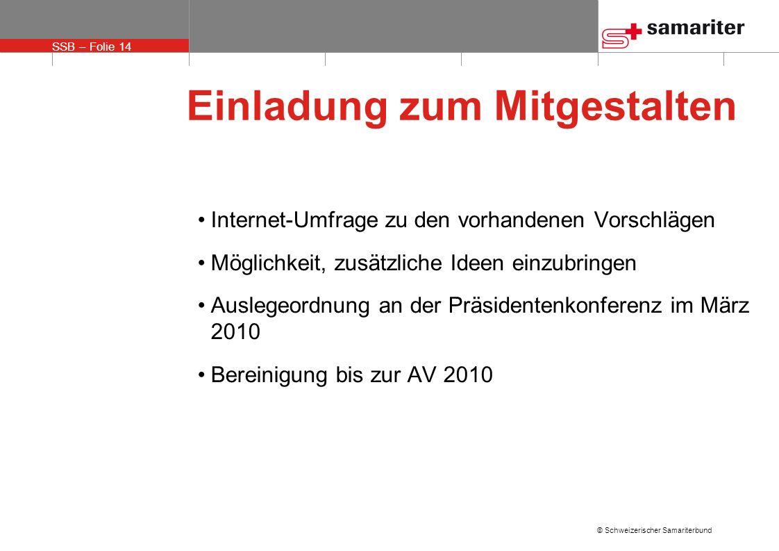 SSB – Folie 14 © Schweizerischer Samariterbund Einladung zum Mitgestalten Internet-Umfrage zu den vorhandenen Vorschlägen Möglichkeit, zusätzliche Ide