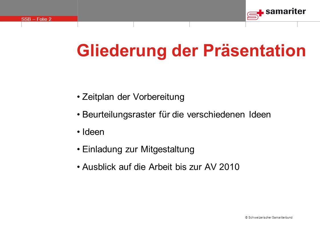 SSB – Folie 2 © Schweizerischer Samariterbund Gliederung der Präsentation Zeitplan der Vorbereitung Beurteilungsraster für die verschiedenen Ideen Ide