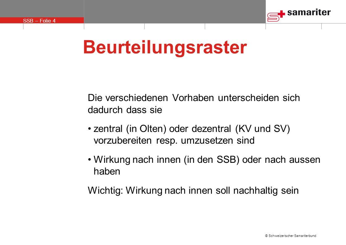 SSB – Folie 4 © Schweizerischer Samariterbund Beurteilungsraster Die verschiedenen Vorhaben unterscheiden sich dadurch dass sie zentral (in Olten) ode