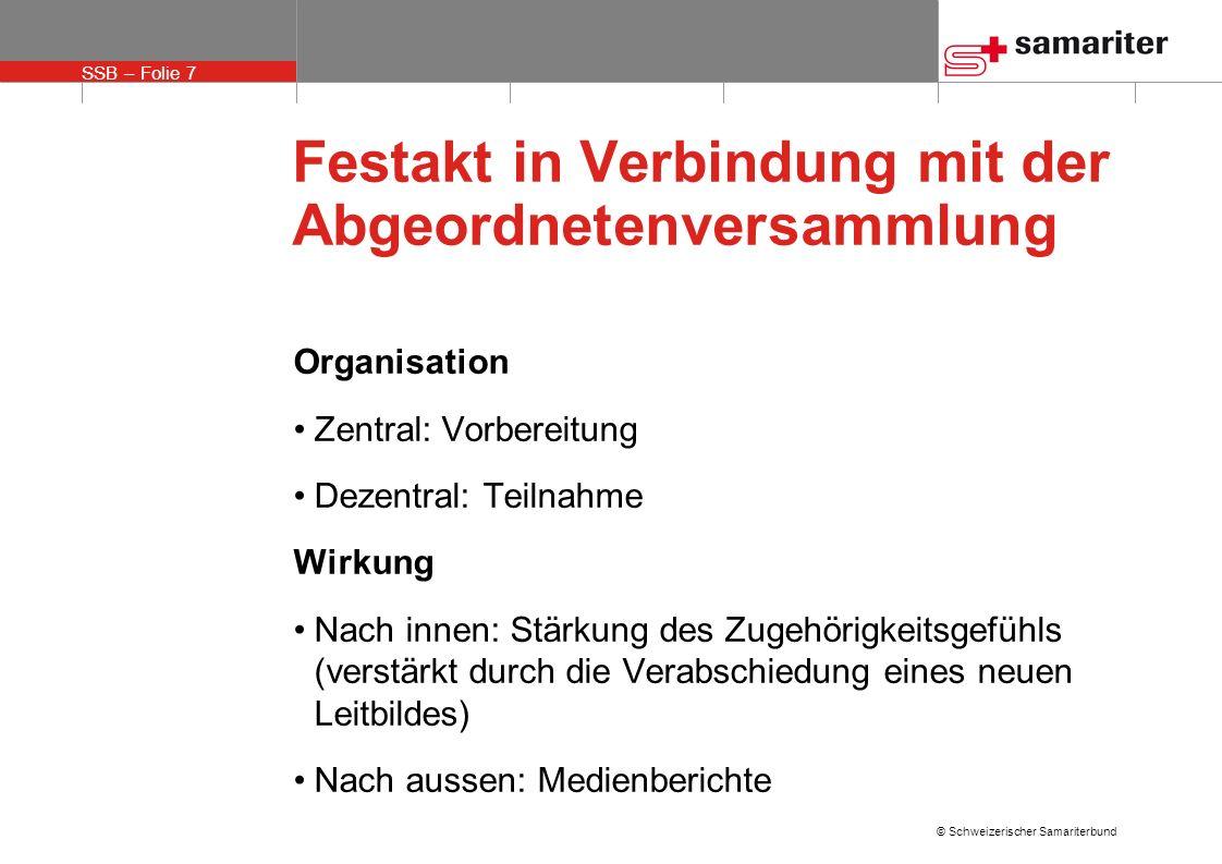 SSB – Folie 7 © Schweizerischer Samariterbund Festakt in Verbindung mit der Abgeordnetenversammlung Organisation Zentral: Vorbereitung Dezentral: Teil