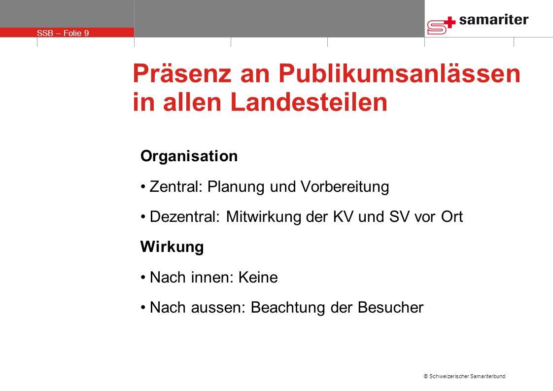 SSB – Folie 9 © Schweizerischer Samariterbund Präsenz an Publikumsanlässen in allen Landesteilen Organisation Zentral: Planung und Vorbereitung Dezent