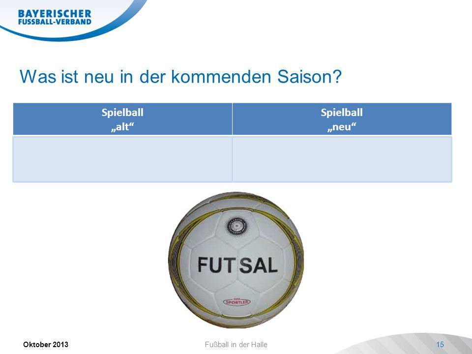Was ist neu in der kommenden Saison? Spielball alt Spielball neu Der Spielball muss der jeweiligen Altersklasse entsprechen. Die Art muss in der Turni