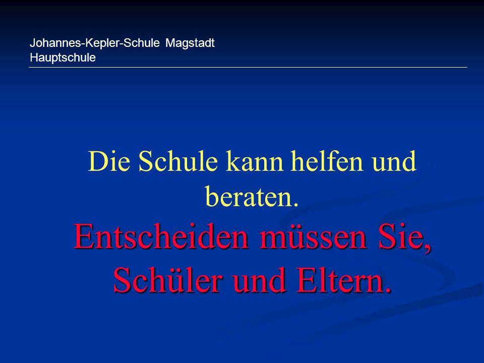Johannes-Kepler-Schule Magstadt Hauptschule Entscheiden müssen Sie, Schüler und Eltern. Die Schule kann helfen und beraten. Entscheiden müssen Sie, Sc