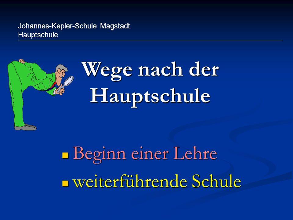 Johannes-Kepler-Schule Magstadt Hauptschule Wege nach der Hauptschule Beginn einer Lehre Beginn einer Lehre weiterführende Schule weiterführende Schul