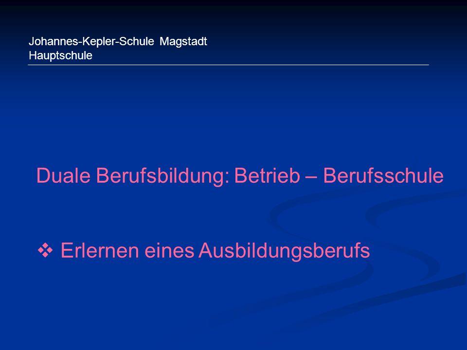Johannes-Kepler-Schule Magstadt Hauptschule Duale Berufsbildung: Betrieb – Berufsschule Erlernen eines Ausbildungsberufs