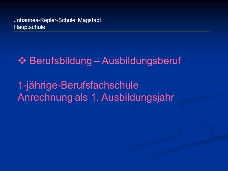 Johannes-Kepler-Schule Magstadt Hauptschule Berufsbildung – Ausbildungsberuf 1-jährige-Berufsfachschule Anrechnung als 1. Ausbildungsjahr