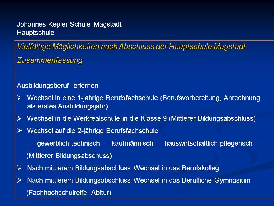 Johannes-Kepler-Schule Magstadt Hauptschule Vielfältige Möglichkeiten nach Abschluss der Hauptschule Magstadt Zusammenfassung Ausbildungsberuf erlerne