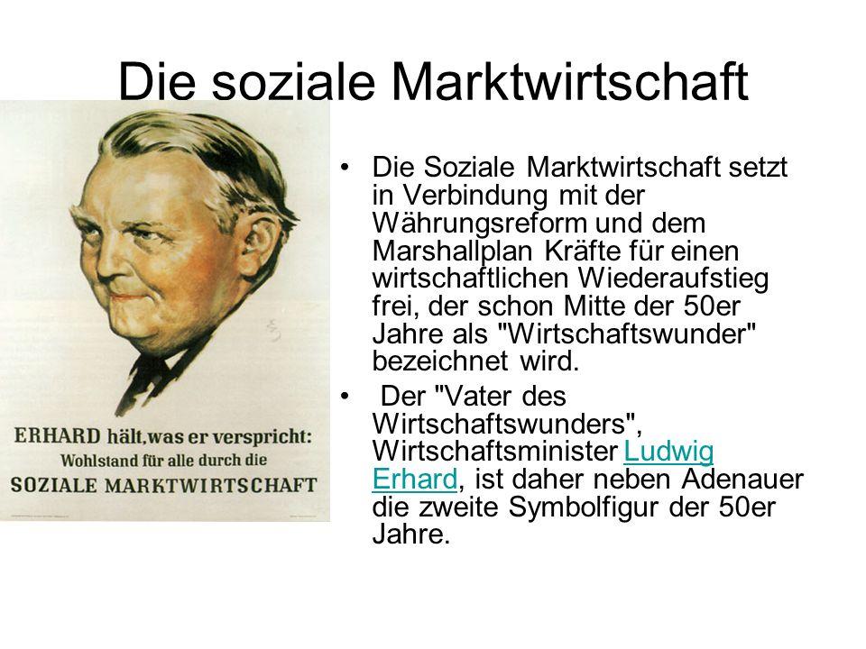 Die soziale Marktwirtschaft Die Soziale Marktwirtschaft setzt in Verbindung mit der Währungsreform und dem Marshallplan Kräfte für einen wirtschaftlic