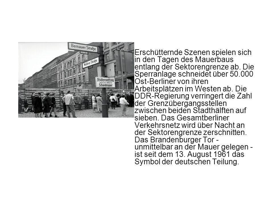 Erschütternde Szenen spielen sich in den Tagen des Mauerbaus entlang der Sektorengrenze ab. Die Sperranlage schneidet über 50.000 Ost-Berliner von ihr