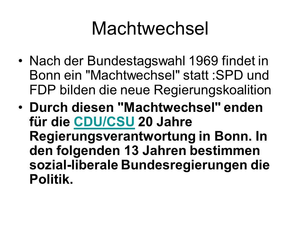 Machtwechsel Nach der Bundestagswahl 1969 findet in Bonn ein