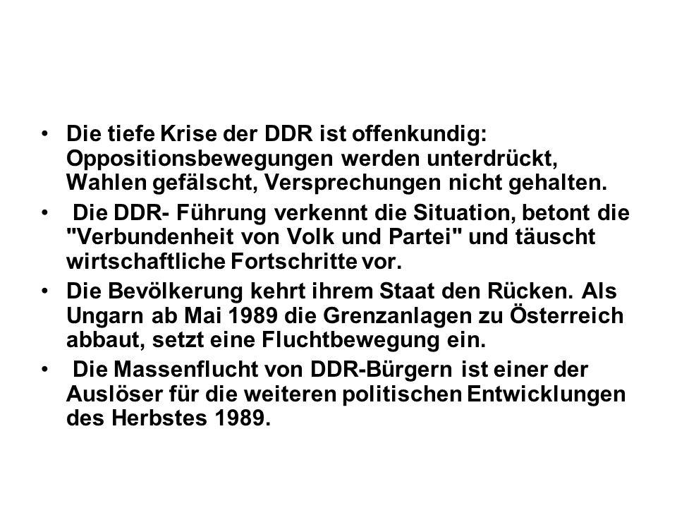 Die tiefe Krise der DDR ist offenkundig: Oppositionsbewegungen werden unterdrückt, Wahlen gefälscht, Versprechungen nicht gehalten. Die DDR- Führung v