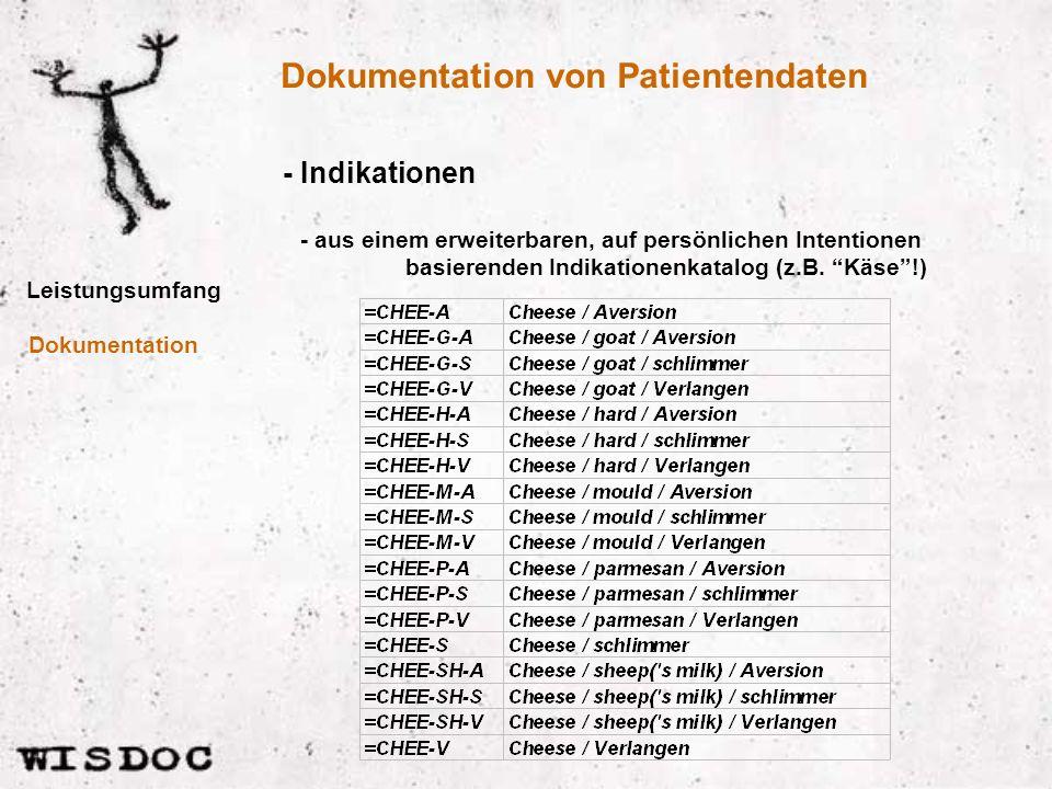 Dokumentation von Patientendaten Leistungsumfang - Indikationen Dokumentation - aus einem erweiterbaren, auf persönlichen Intentionen basierenden Indikationenkatalog (z.B.
