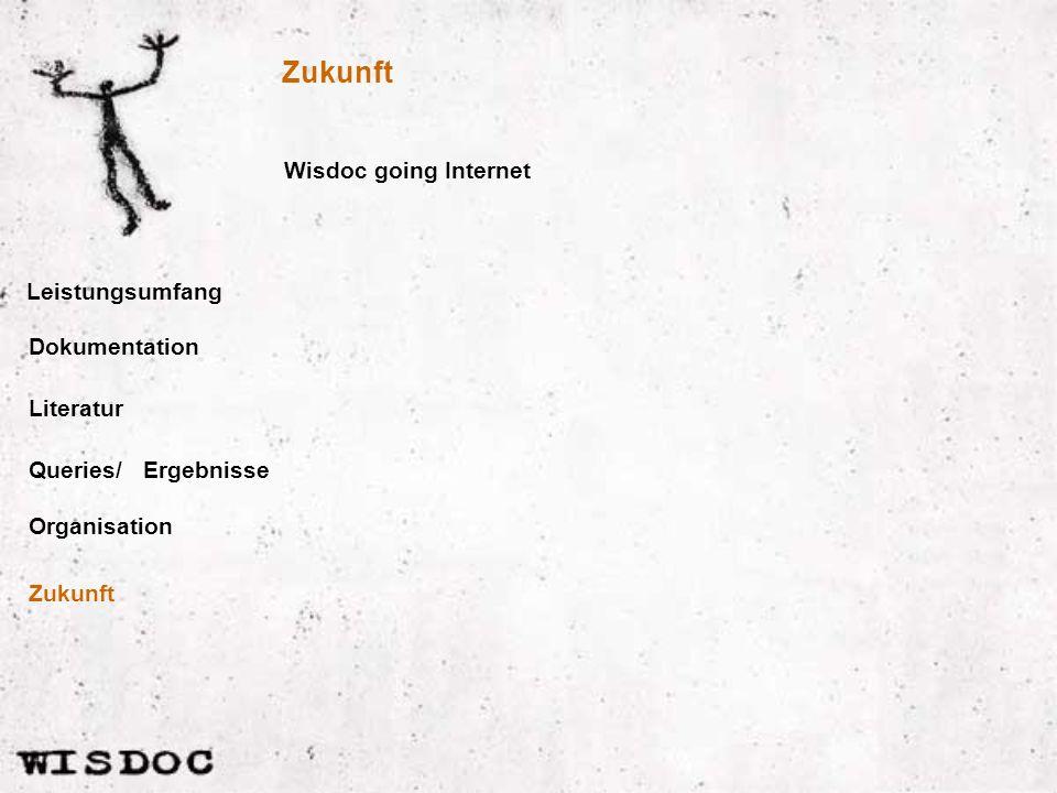Leistungsumfang Wisdoc going Internet Dokumentation Literatur Queries/ Organisation Ergebnisse Zukunft