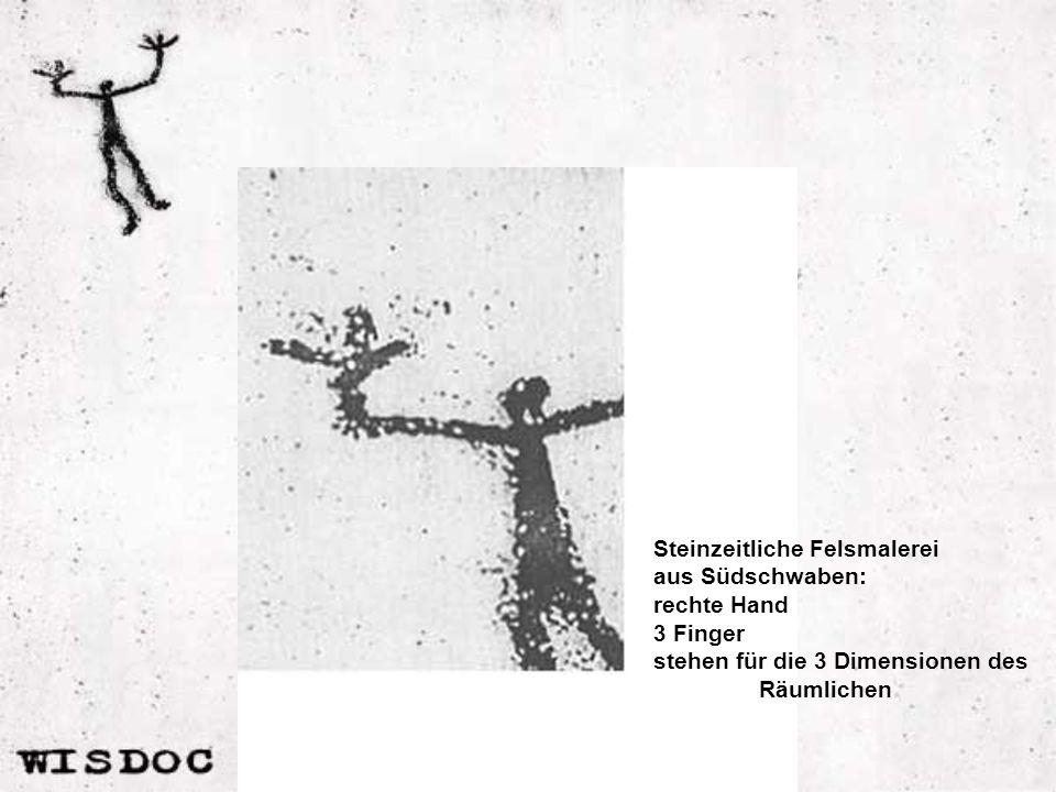 Steinzeitliche Felsmalerei aus Südschwaben: rechte Hand 3 Finger stehen für die 3 Dimensionen des Räumlichen