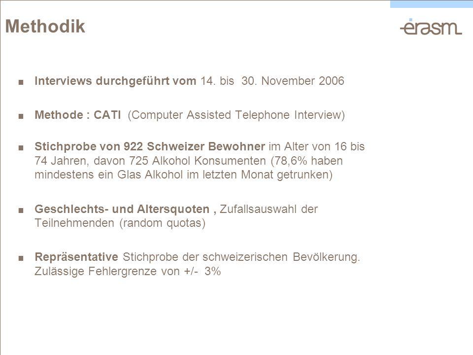 Methodik Interviews durchgeführt vom 14. bis 30. November 2006 Methode : CATI (Computer Assisted Telephone Interview) Stichprobe von 922 Schweizer Bew