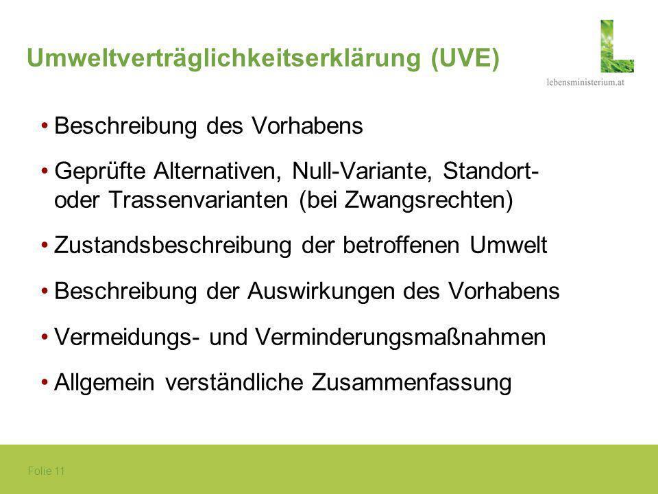 Folie 11 Umweltverträglichkeitserklärung (UVE) Beschreibung des Vorhabens Geprüfte Alternativen, Null-Variante, Standort- oder Trassenvarianten (bei Z