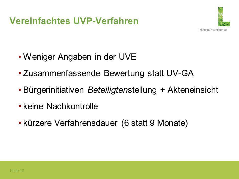 Folie 18 Vereinfachtes UVP-Verfahren Weniger Angaben in der UVE Zusammenfassende Bewertung statt UV-GA Bürgerinitiativen Beteiligtenstellung + Aktenei