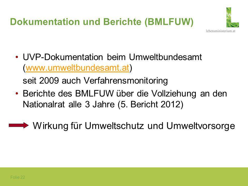 Folie 22 Dokumentation und Berichte (BMLFUW) UVP-Dokumentation beim Umweltbundesamt (www.umweltbundesamt.at)www.umweltbundesamt.at seit 2009 auch Verf