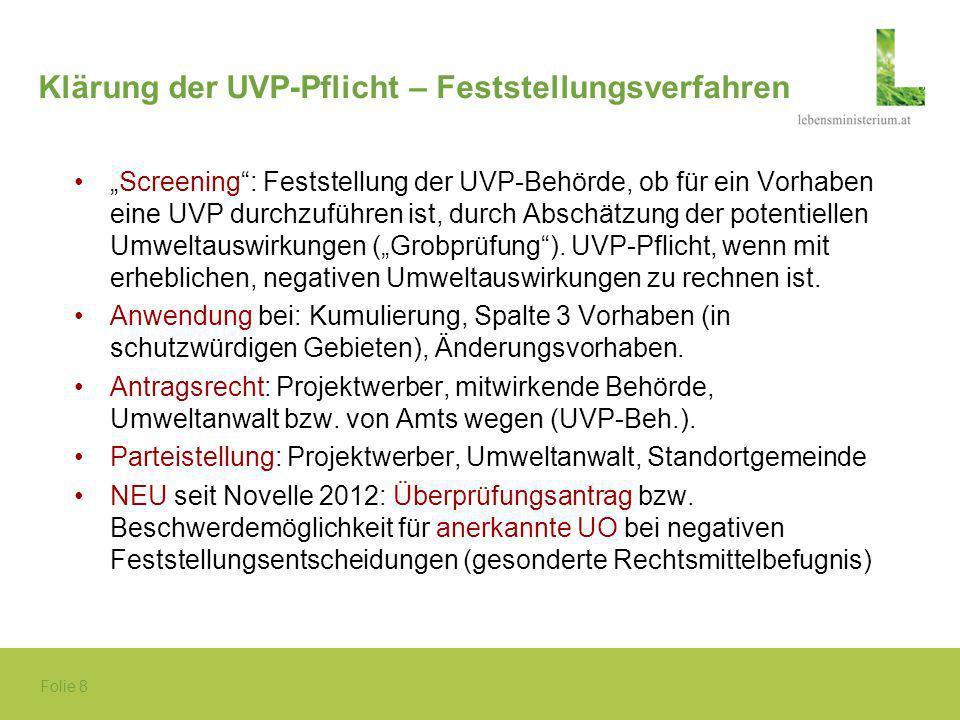 Folie 8 Klärung der UVP-Pflicht – Feststellungsverfahren Screening: Feststellung der UVP-Behörde, ob für ein Vorhaben eine UVP durchzuführen ist, durc
