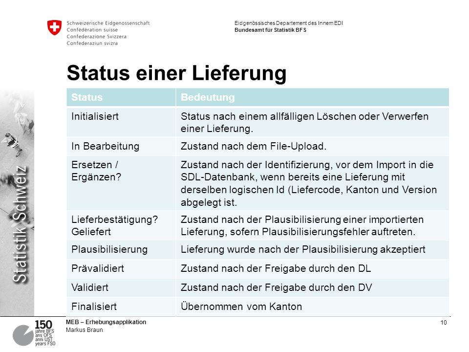 10 MEB – Erhebungsapplikation Markus Braun Eidgenössisches Departement des Innern EDI Bundesamt für Statistik BFS Status einer Lieferung StatusBedeutung InitialisiertStatus nach einem allfälligen Löschen oder Verwerfen einer Lieferung.