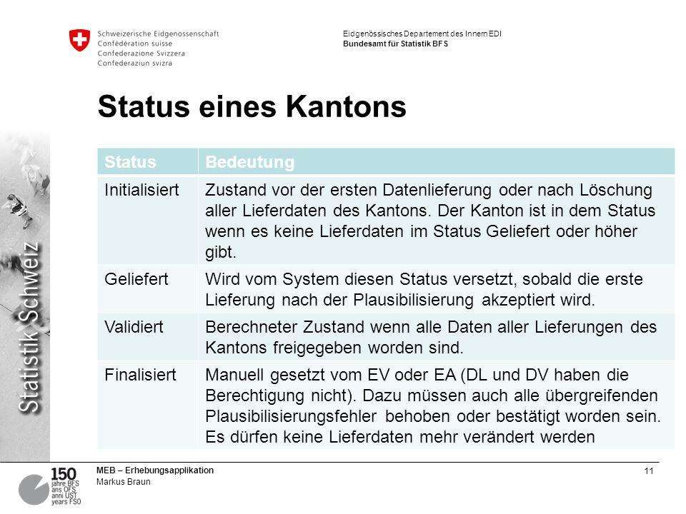 11 MEB – Erhebungsapplikation Markus Braun Eidgenössisches Departement des Innern EDI Bundesamt für Statistik BFS Status eines Kantons StatusBedeutung