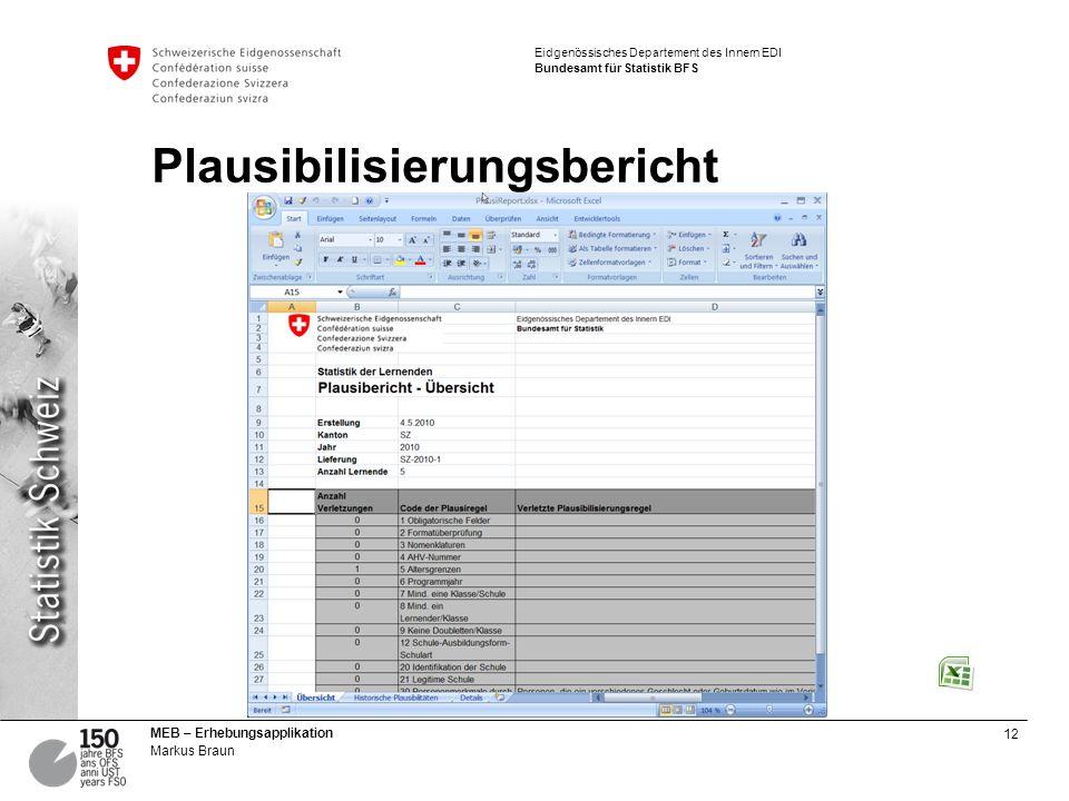 12 MEB – Erhebungsapplikation Markus Braun Eidgenössisches Departement des Innern EDI Bundesamt für Statistik BFS Plausibilisierungsbericht