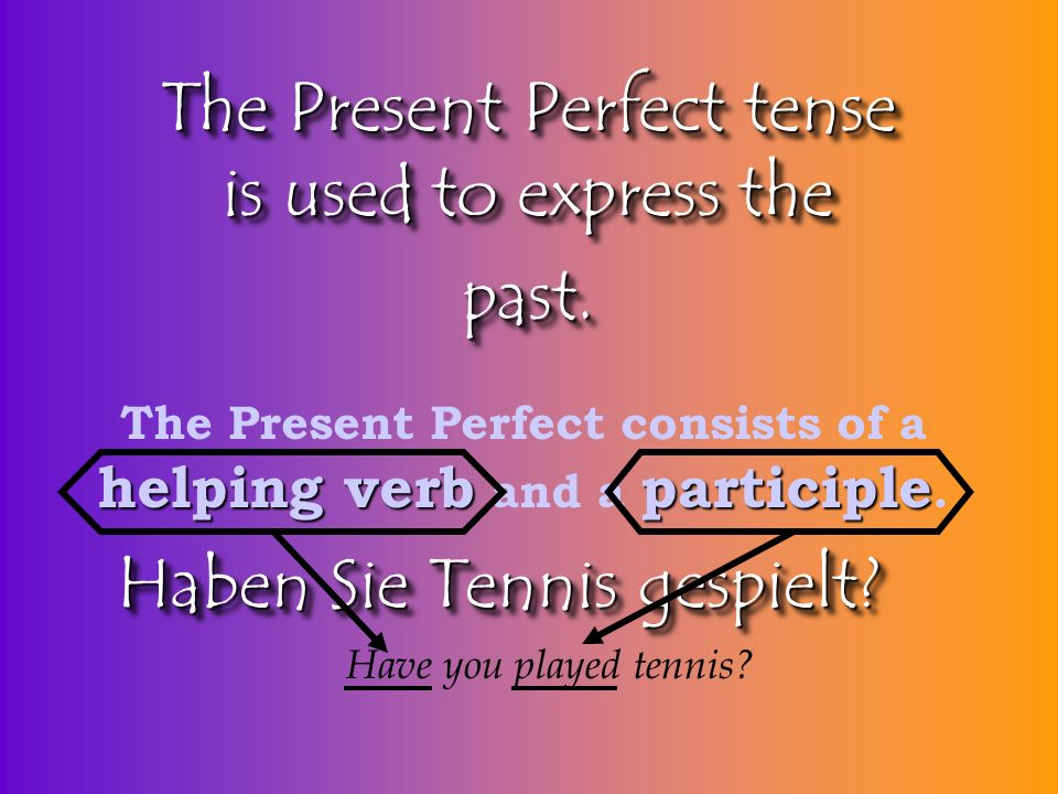 The Present Perfect tense is used to express the past.
