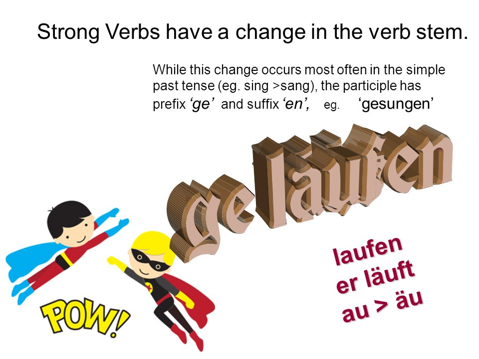 Strong Verbs have a change in the verb stem.