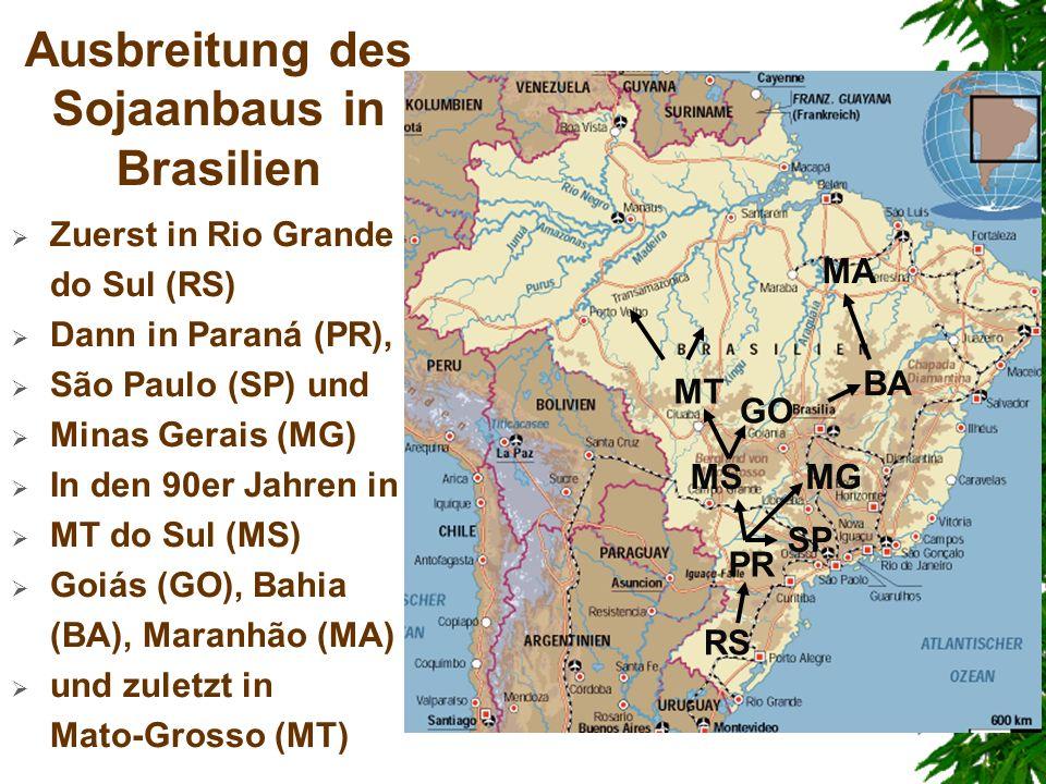 Ausbreitung des Sojaanbaus in Brasilien Zuerst in Rio Grande do Sul (RS) Dann in Paraná (PR), São Paulo (SP) und Minas Gerais (MG) In den 90er Jahren