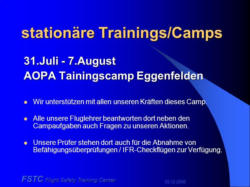 05.12.2009 FSTC Flight Safety Training Center stationäre Trainings/Camps 31.Juli - 7.August AOPA Tainingscamp Eggenfelden Wir unterstützen mit allen unseren Kräften dieses Camp.