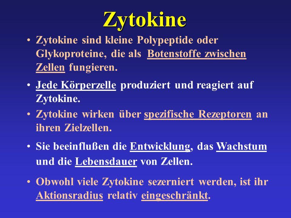 Zytokine Obwohl viele Zytokine sezerniert werden, ist ihr Aktionsradius relativ eingeschränkt. Sie beeinflußen die Entwicklung, das Wachstum und die L