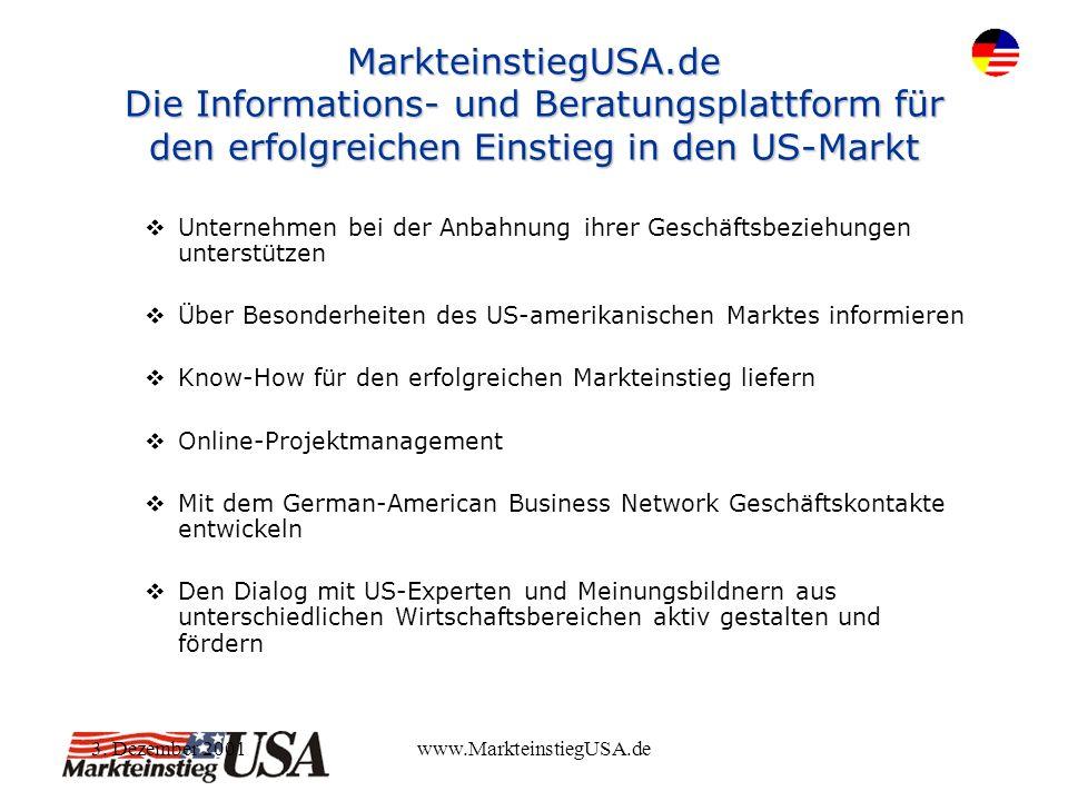 3. Dezember 2001www.MarkteinstiegUSA.de MarkteinstiegUSA.de Die Informations- und Beratungsplattform für den erfolgreichen Einstieg in den US-Markt Un