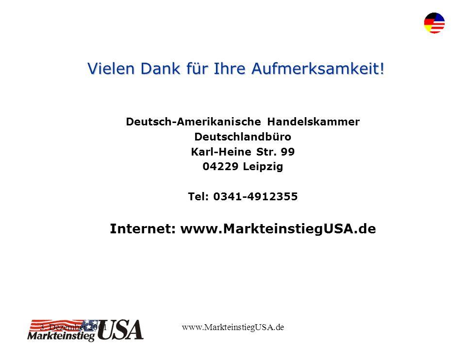 3. Dezember 2001www.MarkteinstiegUSA.de Vielen Dank für Ihre Aufmerksamkeit! Deutsch-Amerikanische Handelskammer Deutschlandbüro Karl-Heine Str. 99 04