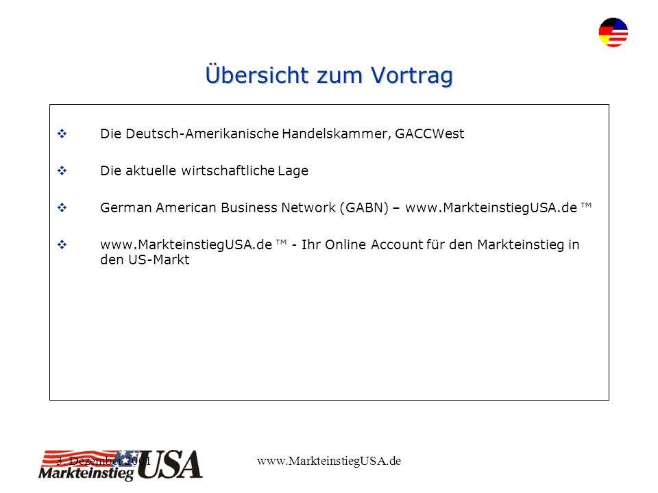 3. Dezember 2001www.MarkteinstiegUSA.de Übersicht zum Vortrag Die Deutsch-Amerikanische Handelskammer, GACCWest Die aktuelle wirtschaftliche Lage Germ