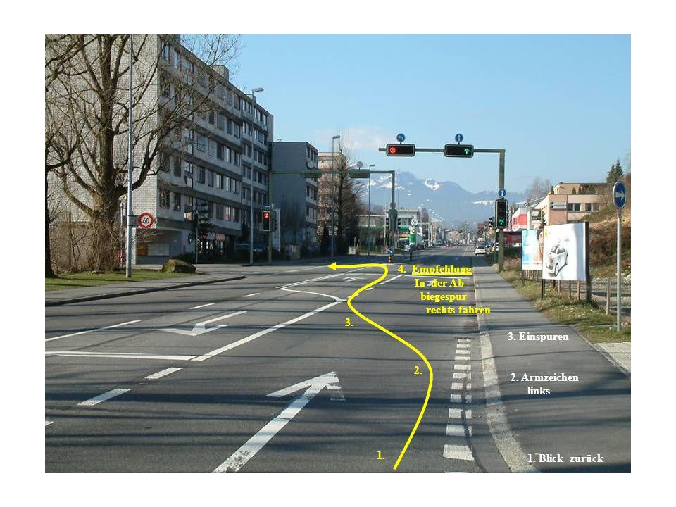 4.Empfehlung In der Ab- biegespur rechts fahren 3.