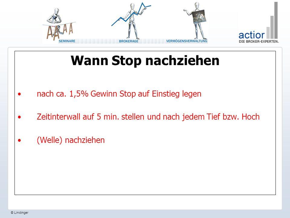 Wann Stop nachziehen nach ca.1,5% Gewinn Stop auf Einstieg legen Zeitinterwall auf 5 min.