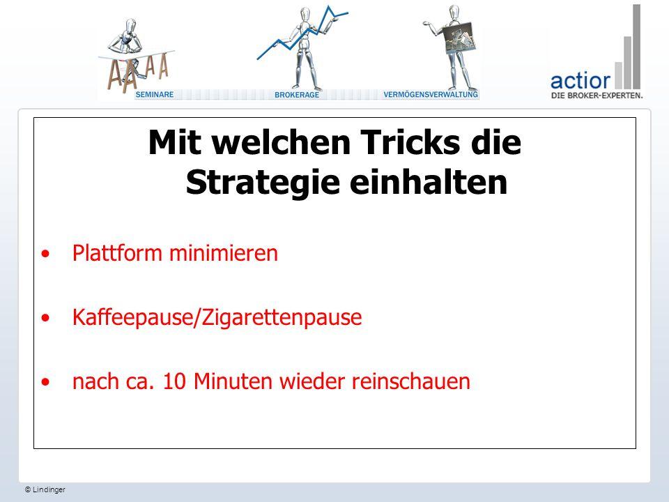 © Lindinger Mit welchen Tricks die Strategie einhalten Plattform minimieren Kaffeepause/Zigarettenpause nach ca.