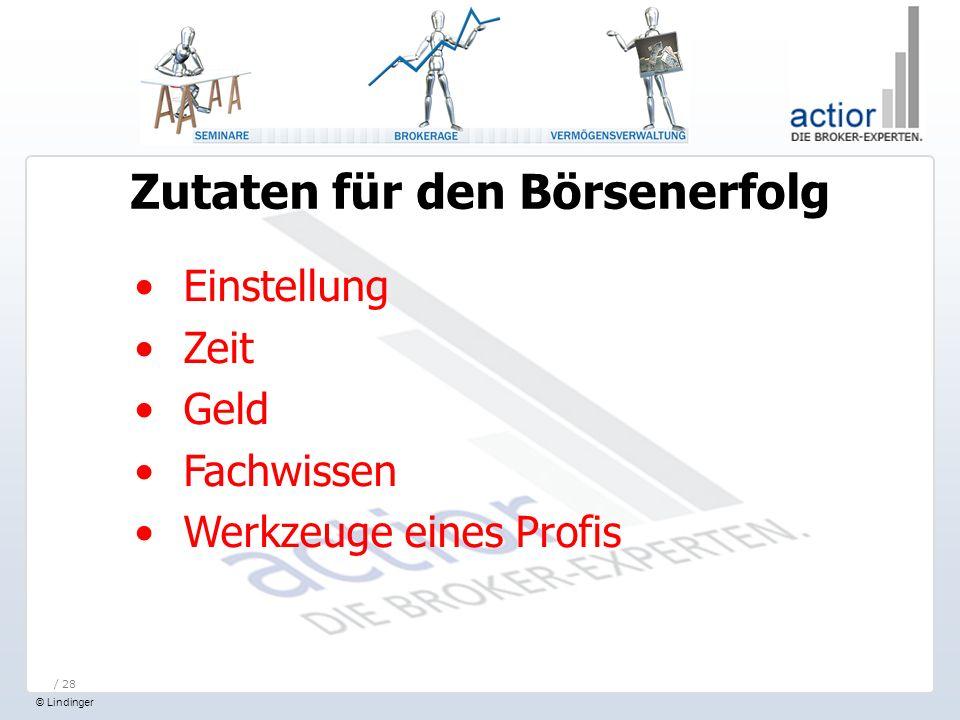 © Lindinger / 28 Einstellung Zeit Geld Fachwissen Werkzeuge eines Profis Zutaten für den Börsenerfolg