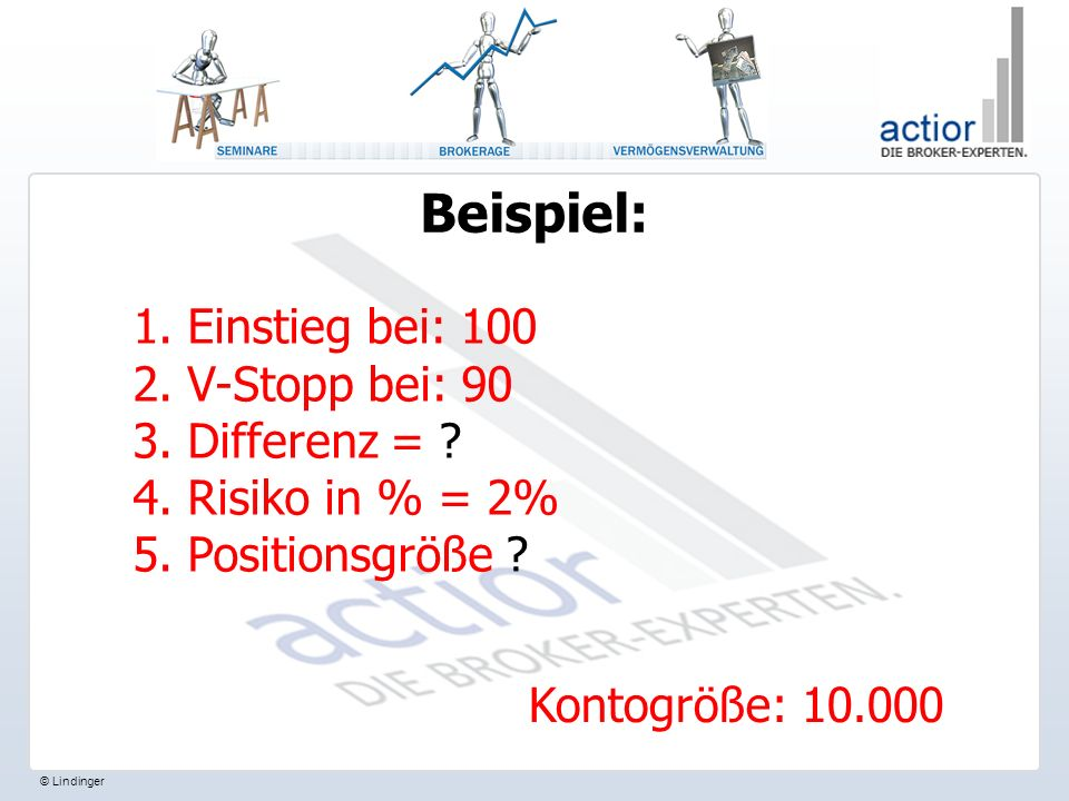 © Lindinger Beispiel: 1.Einstieg bei: 100 2. V-Stopp bei: 90 3.