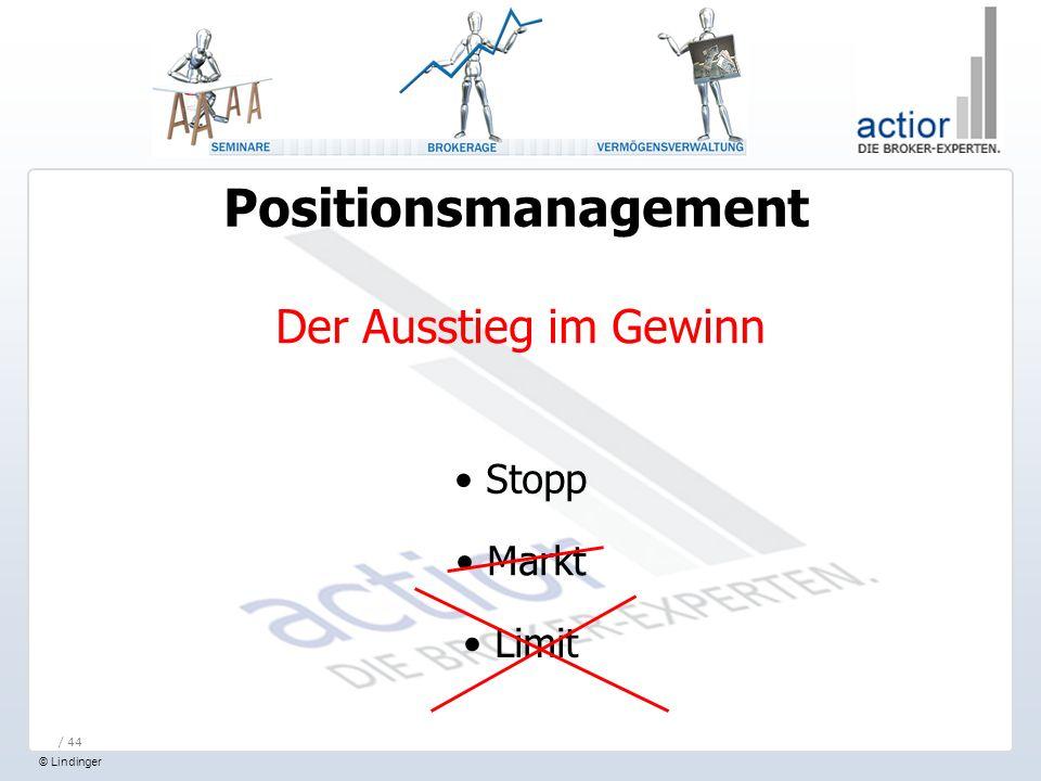 © Lindinger / 44 Positionsmanagement Der Ausstieg im Gewinn Stopp Markt Limit