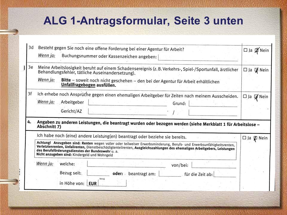 ALG 1-Antragsformular, Seite 3 unten