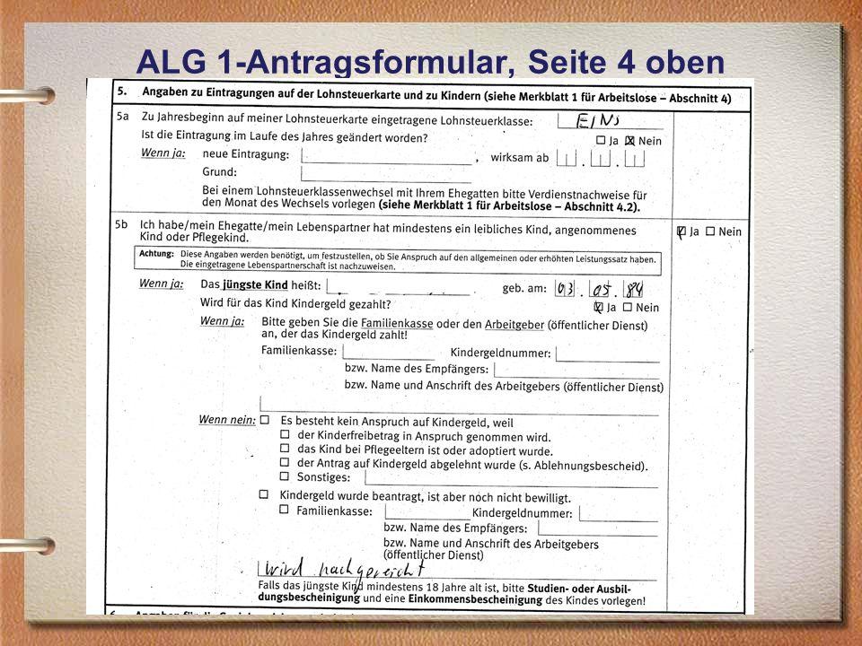 ALG 1-Antragsformular, Seite 4 oben