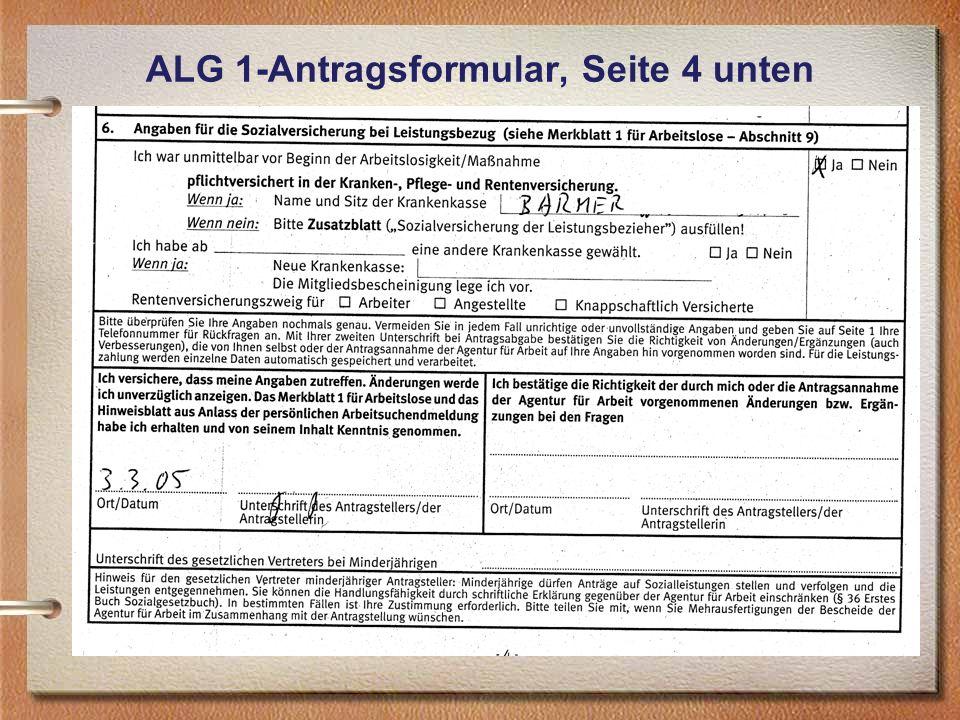 ALG 1-Antragsformular, Seite 4 unten