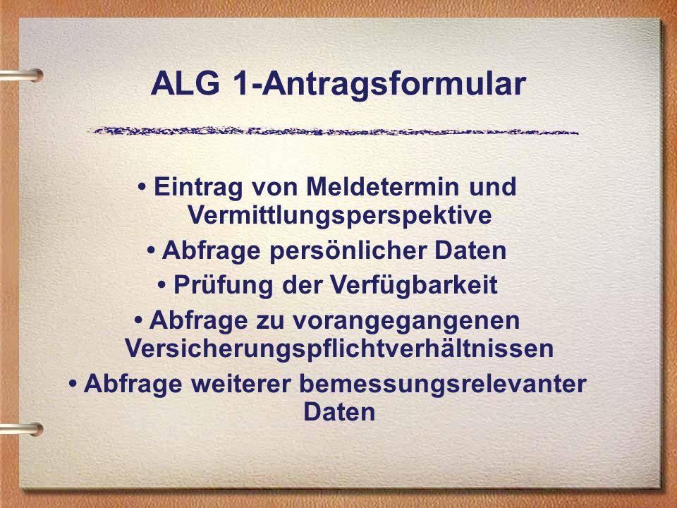 ALG 1-Antragsformular Eintrag von Meldetermin und Vermittlungsperspektive Abfrage persönlicher Daten Prüfung der Verfügbarkeit Abfrage zu vorangegange