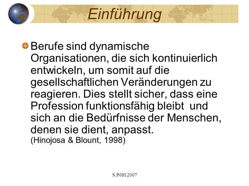 S.Pöltl 2007 Einführung Berufe sind dynamische Organisationen, die sich kontinuierlich entwickeln, um somit auf die gesellschaftlichen Veränderungen z