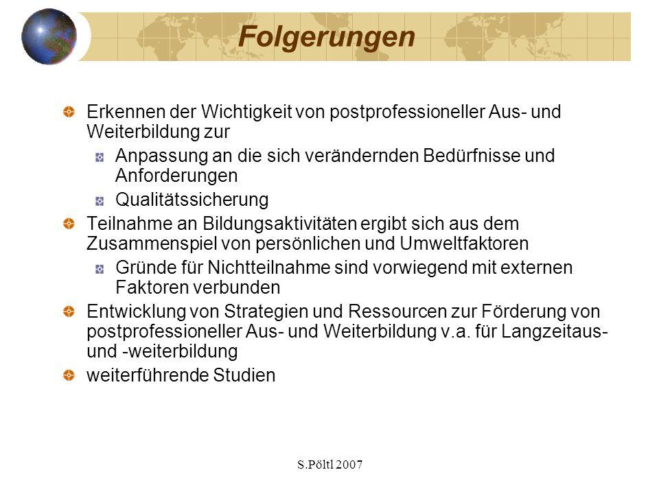 S.Pöltl 2007 Folgerungen Erkennen der Wichtigkeit von postprofessioneller Aus- und Weiterbildung zur Anpassung an die sich verändernden Bedürfnisse un