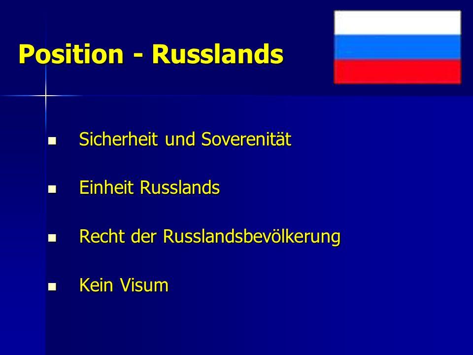 Position - Russlands Sicherheit und Soverenität Sicherheit und Soverenität Einheit Russlands Einheit Russlands Recht der Russlandsbevölkerung Recht der Russlandsbevölkerung Kein Visum Kein Visum